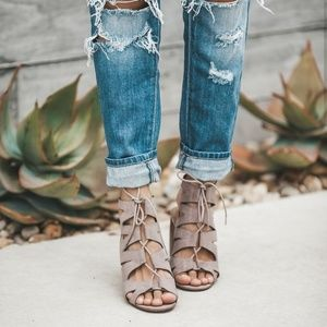 Shoes - Lace up Chunky Heels